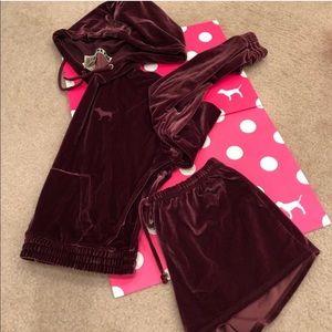 🔥 Pink VS velour black orchid hoodie & shorts Xsm